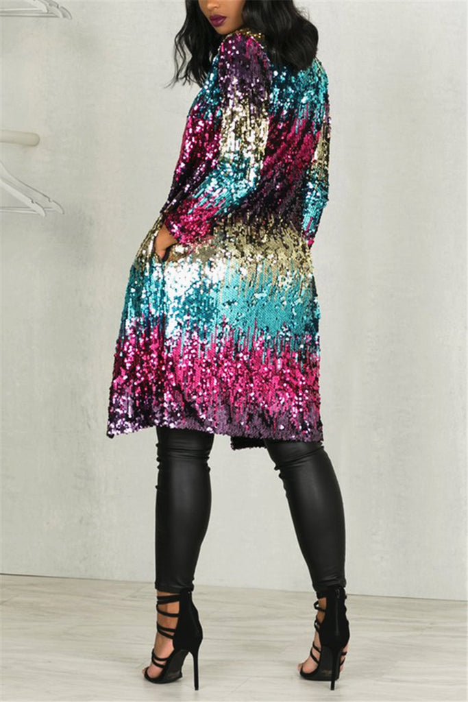 Sequins Patchwork  Casual Coat