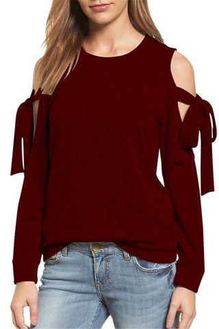 Round Neck Solid Cold Shoulder Lace Up Top