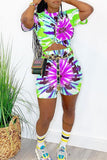 Tie Dye Colorful Short Sleeve Top & Shorts