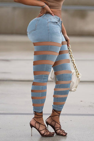 Pierced Denim Plus Size Solid Color Pants, whatwears  - buy with discount