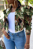 Plus Size Denim Camouflage Ruffled Jacket