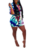 Tie Dye Button Half Sleeve Two Piece Sets