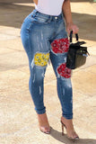 Denim Color Patchwork High Waist Pants