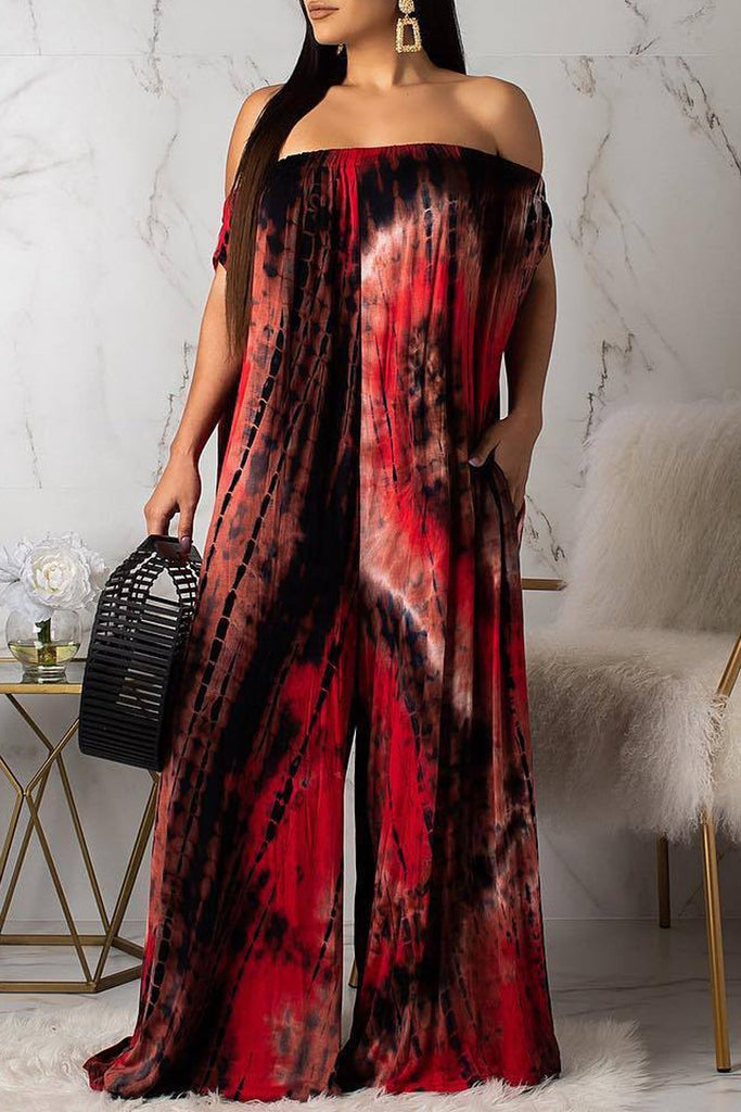 Off The Shoulder Print Wide Leg Casual Jumpsuit