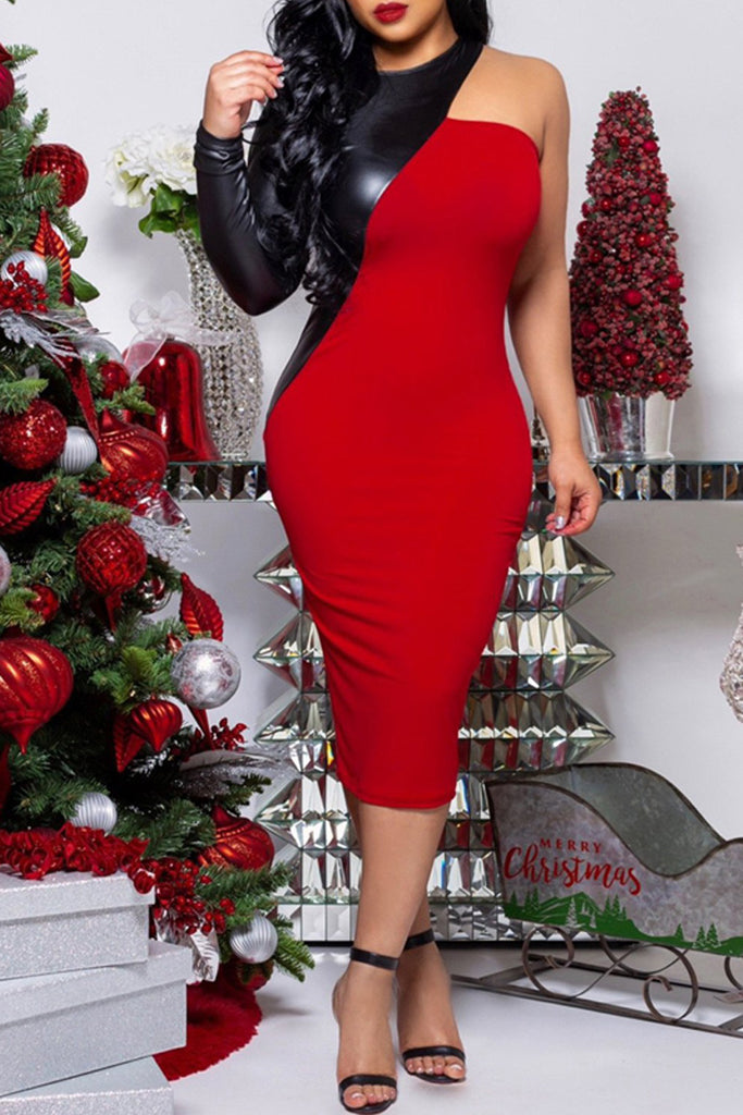 1f94c0ac8d4 Sexy PU Patchwork One Sleeve Bodycon Midi Dress – WHATWEARS