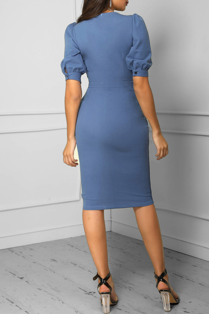 Solid Color V-neck Asymmetric Hem OL Midi Dress
