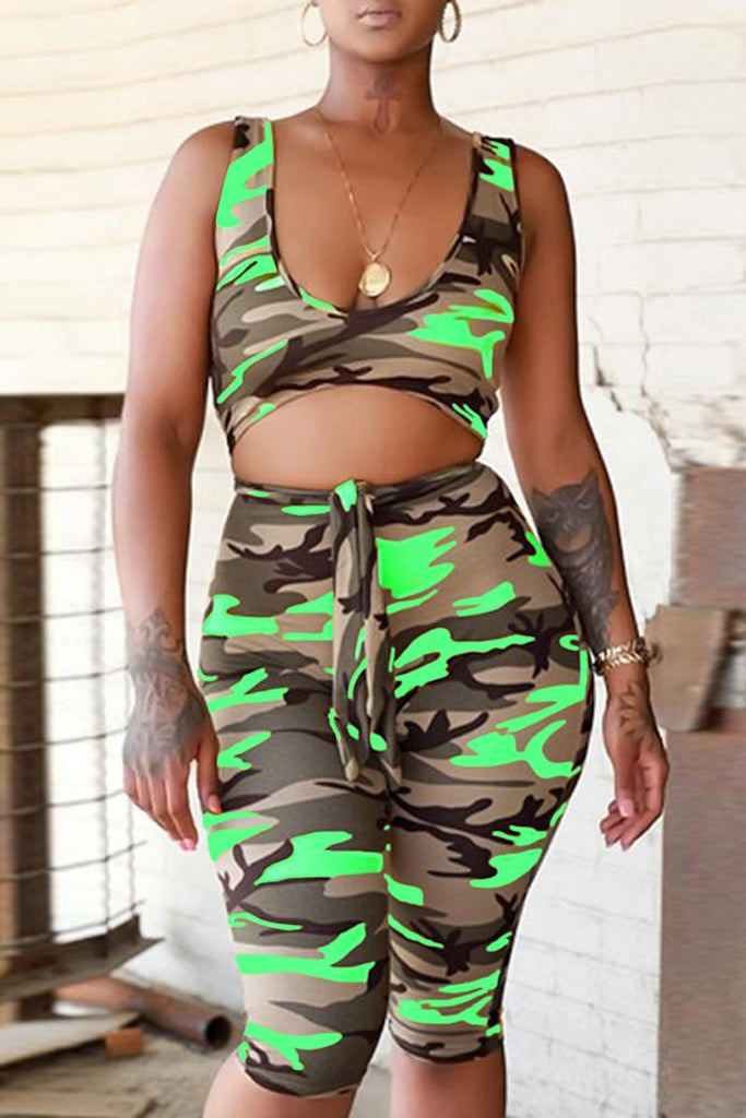 Camouflage Printed Hollow Out Scoop Neck Romper