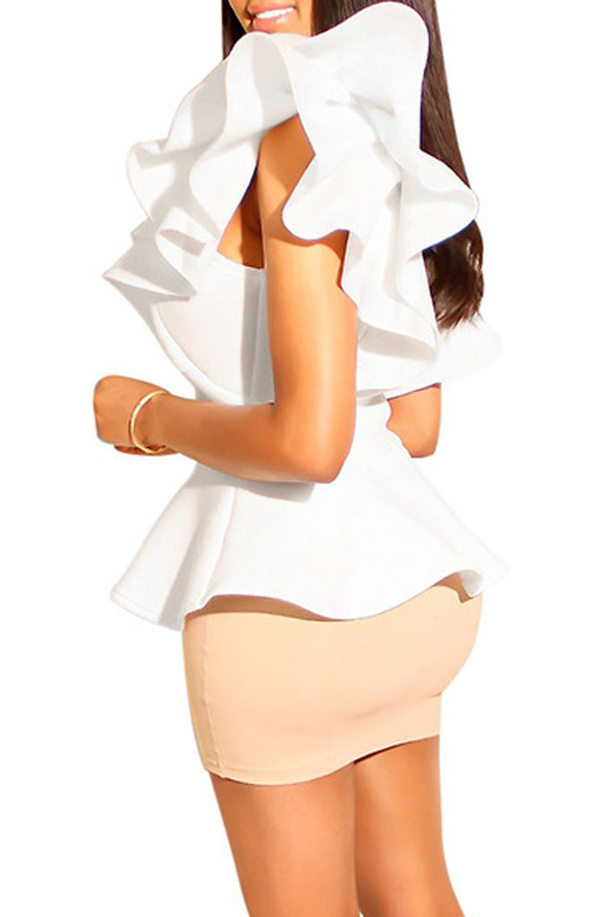 Solid Irregular Hem Flounced Two Piece Mini Dress