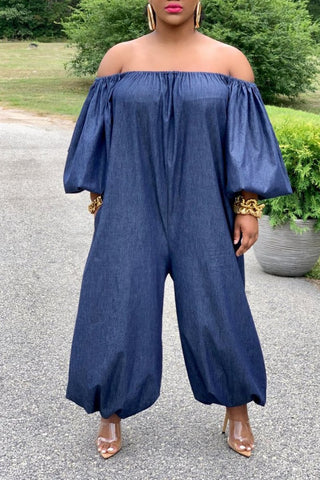 Plus Size Denim Off The Shoulder Wide Leg Jumpsuit, whatwears  - buy with discount