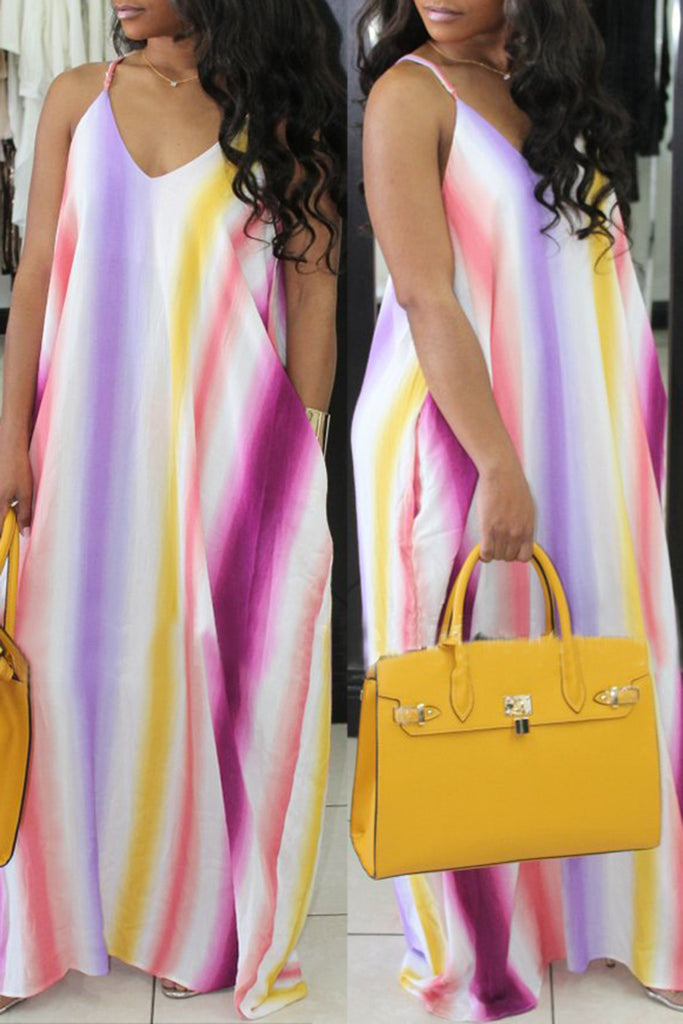 V-neck Sleeveless Rainbow Stripe Pocket Casual Dress