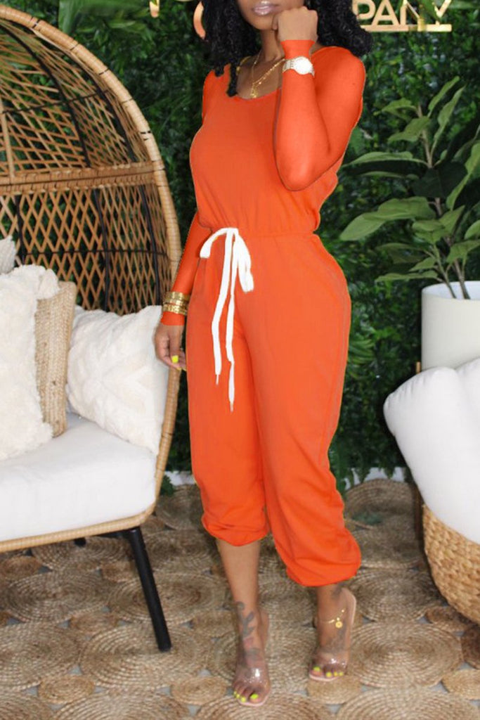 Round Neck Solid Lace Up Casual Jumpsuit