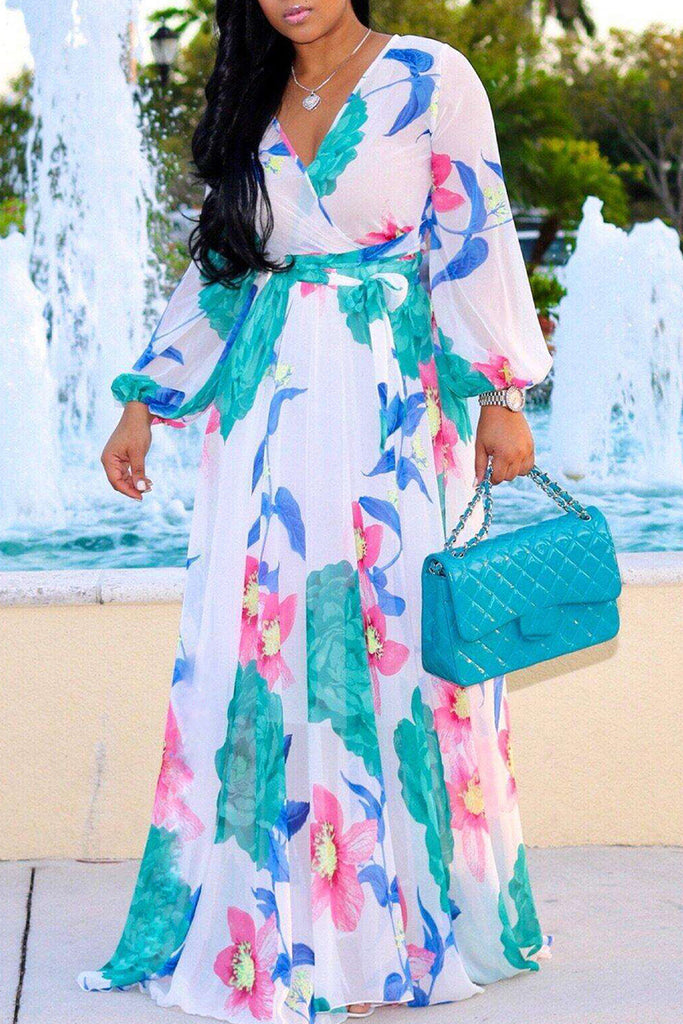 V-neck High Waist Puff Sleeve Printed Maxi Dress