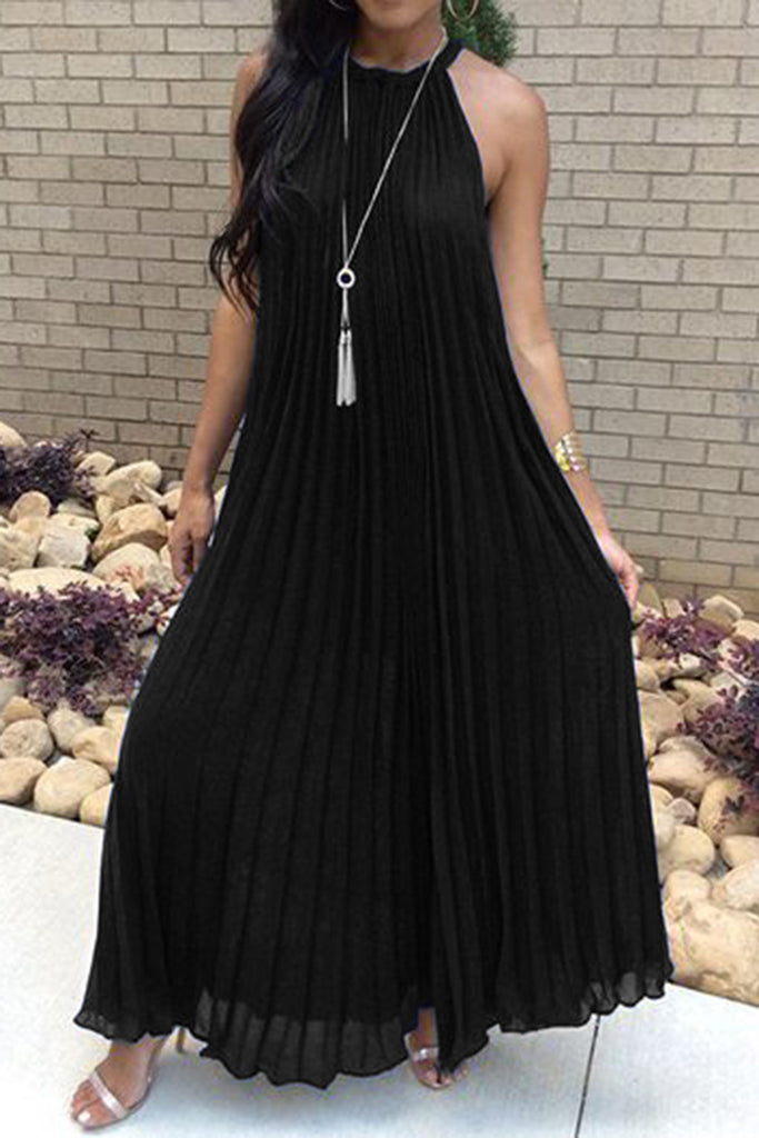 Halter Fold Sleeveless Solid Color Casual Dress - WHATWEARS