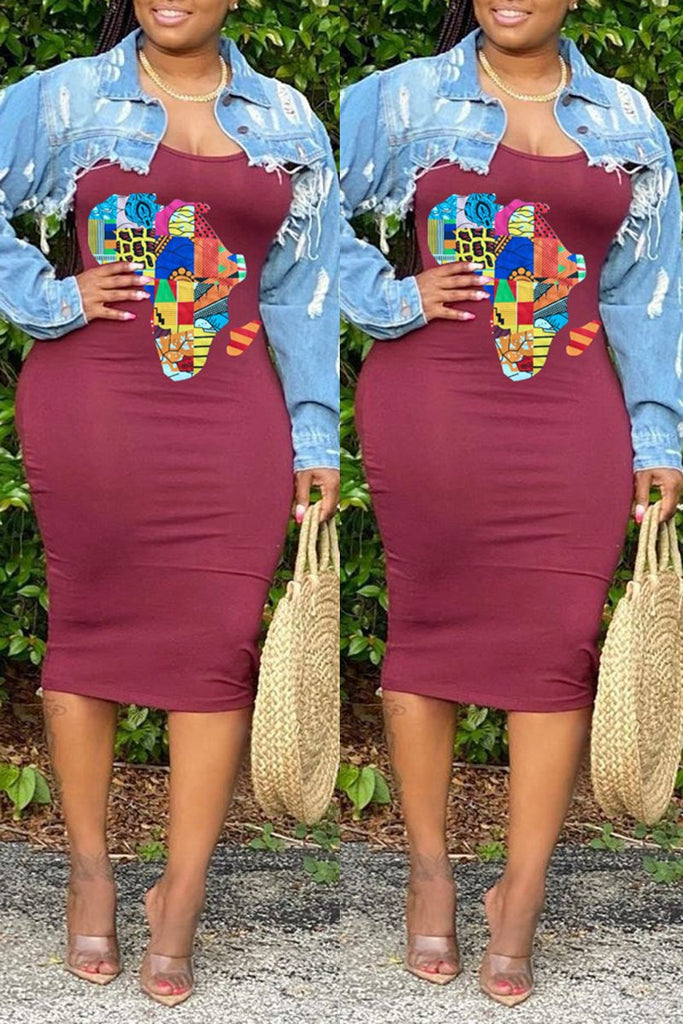 Square Collar Colorful Printed Plus Size Dress