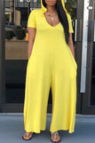 Solid Color Hooded Collar V-neck Short Sleeve Jumpsuit