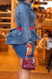 Denim Worn Out Peplum Waist Jacket Without Belt