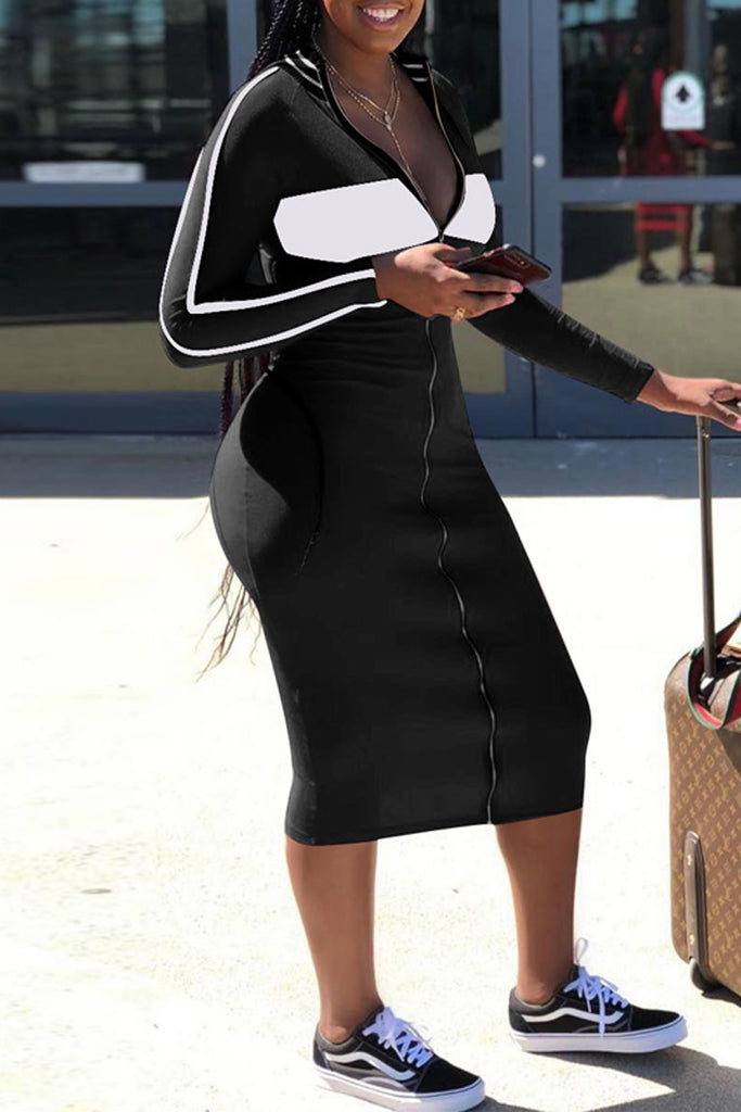 Casual Striped Long Sleeve Zipper Midi Dress - WHATWEARS