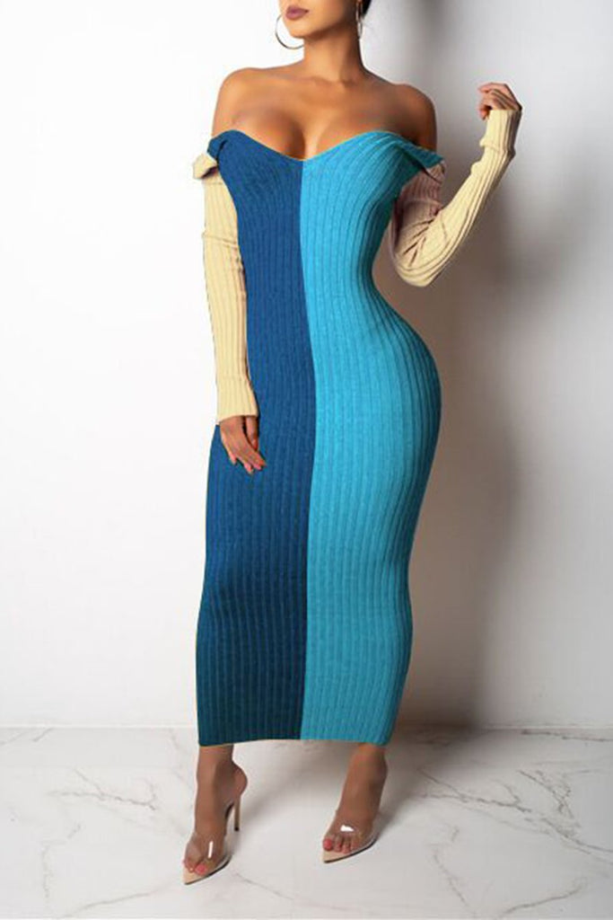 Rib Off The Shoulder Color Spliced Dress
