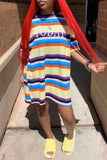 Rainbow Striped Letter Mini Dress