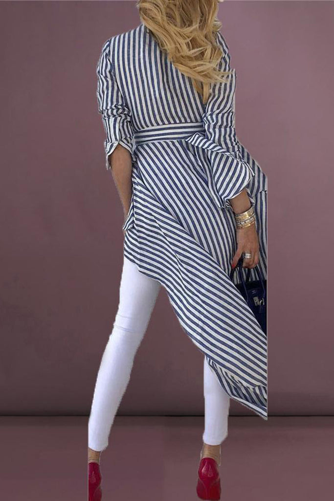 V-Neck Striped High Low Dress With Belt