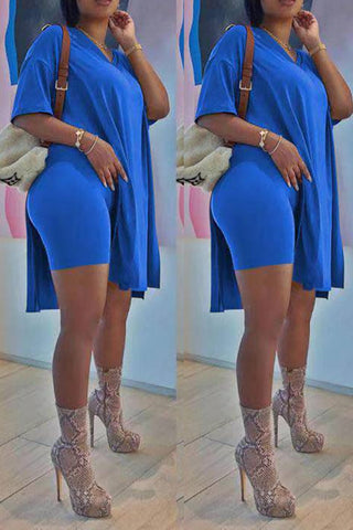 V-Neck Side Slit Solid Color Top & Shorts, whatwears  - buy with discount