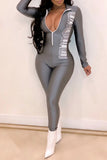Sexy Digital Print Zipper Long Sleeve Bodycon Jumpsuit