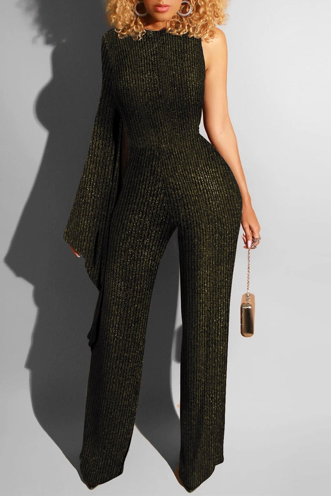 Asymmetric One Sleeve Club Jumpsuit