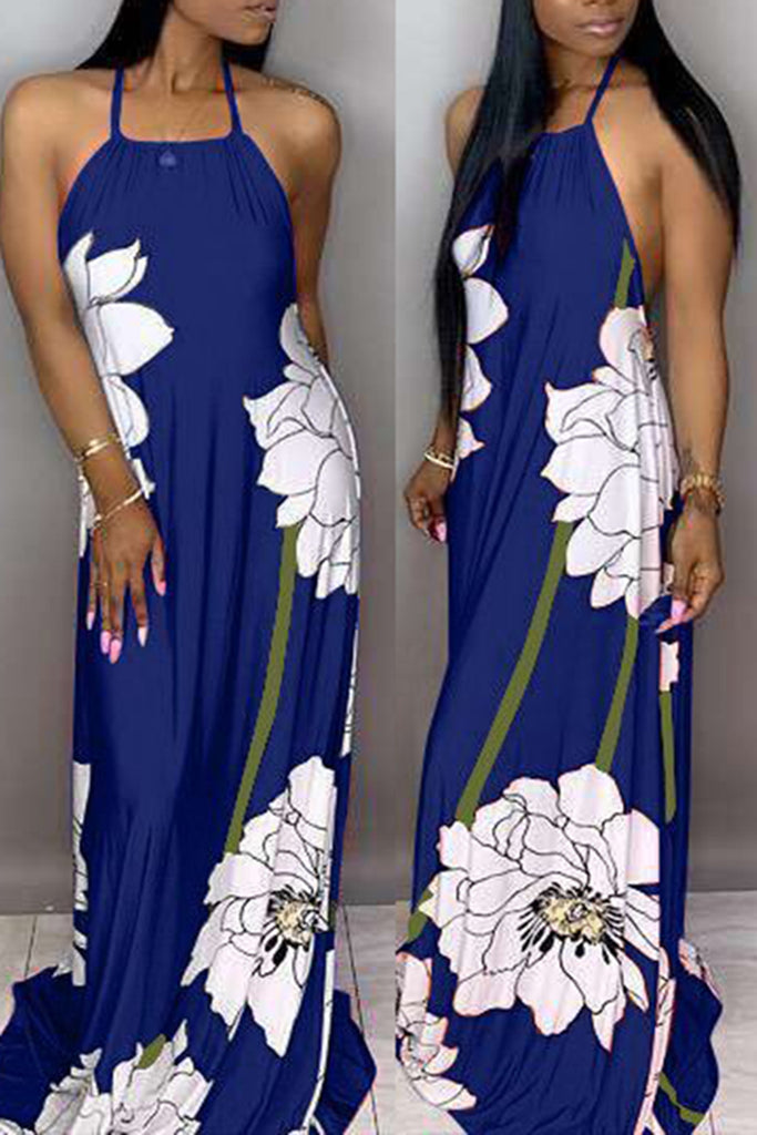 Floral Print Halter Casual Maxi Dress Without Head Scarf
