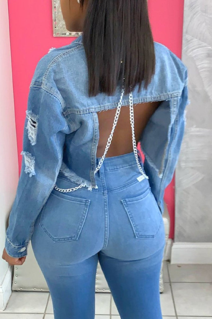 Denim Distressed Chain Open Back Jacket