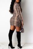 High Neck Leopard Print Mini Dress