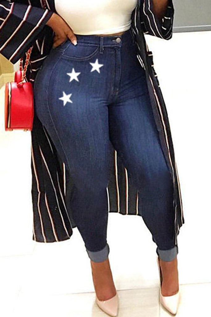 Plus Size High-elastic Star Print Jeans