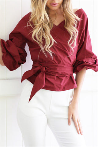 Wrap Over Tie Waist Blouse фото