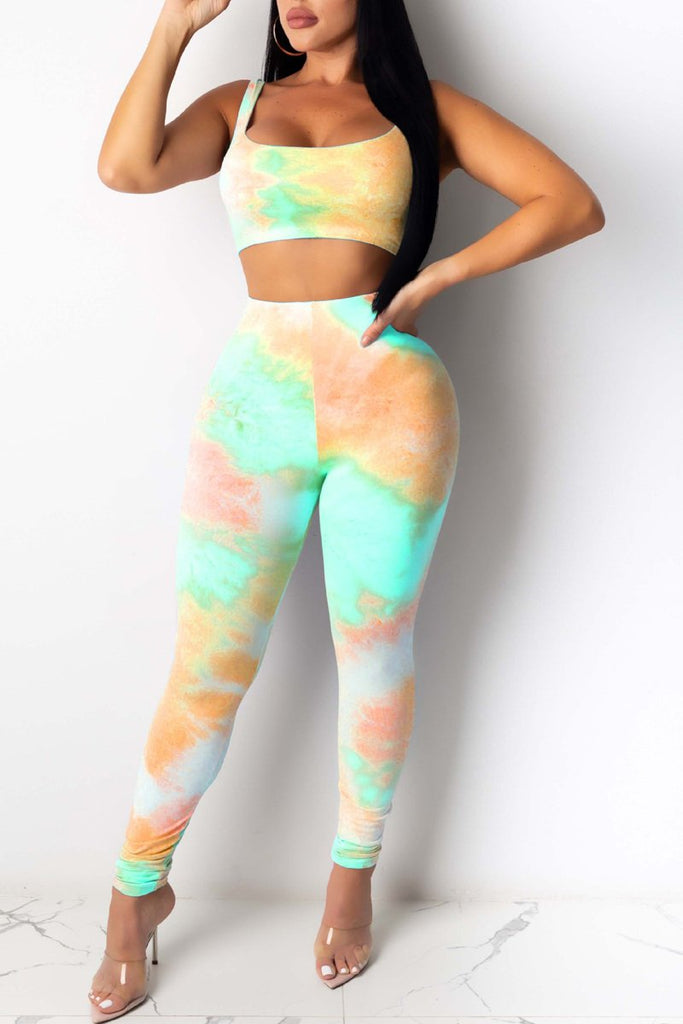 Scoop Neck Tie Dye Two Piece Sets