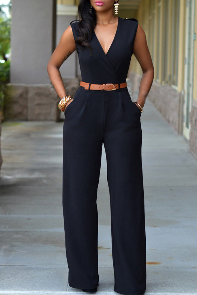 fe8c1807c6f Sleeveless Deep V-neck Jumpsuit With Belt – WHATWEARS
