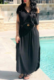 Solid Color Side Slit V-neck Short Sleeve Maxi Dress