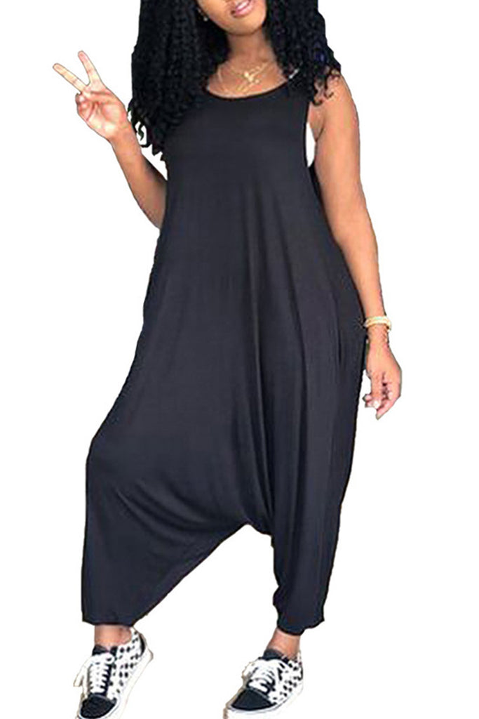 Solid Color Sleeveless Loose Casual Jumpsuit