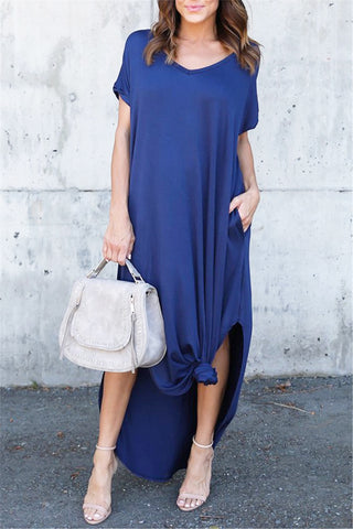Short Sleeve Loose Maxi Dress фото