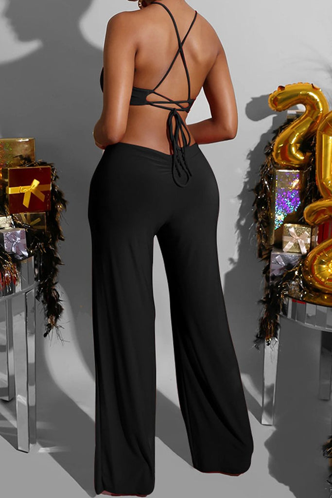 Halter Neck Open Back Lace-up Jumpsuit