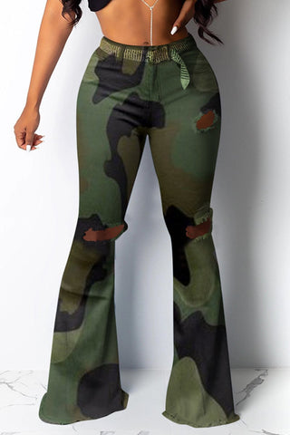 Camo Print Sheer Panel Leggings