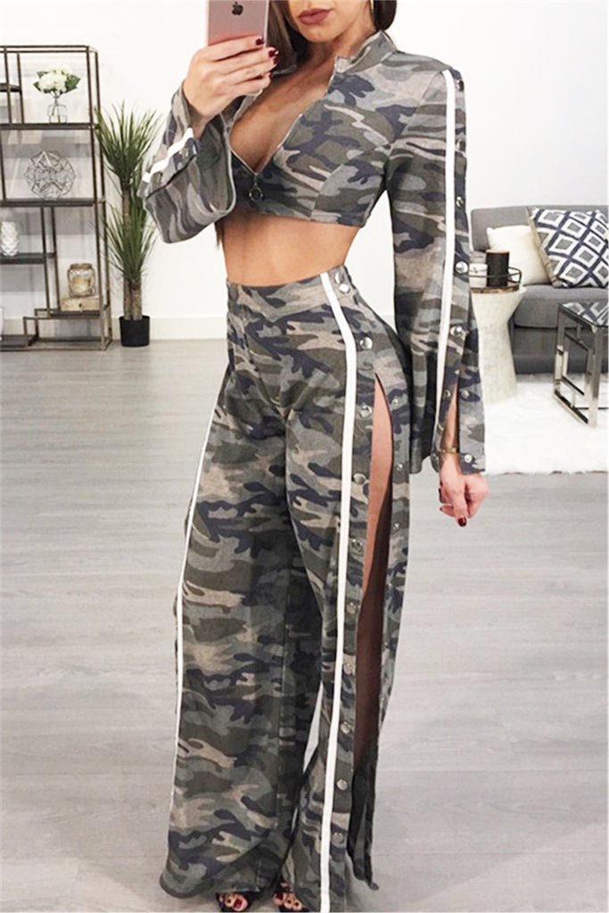 Gray Camo Crop Top & Pants - WHATWEARS