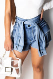 Denim Faux Two Piece Edge Distressed Shorts