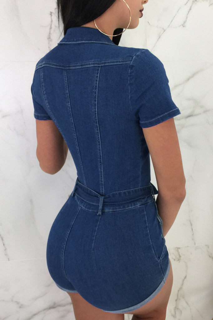 Zipper Pocket Bandage Short Sleeve Romper