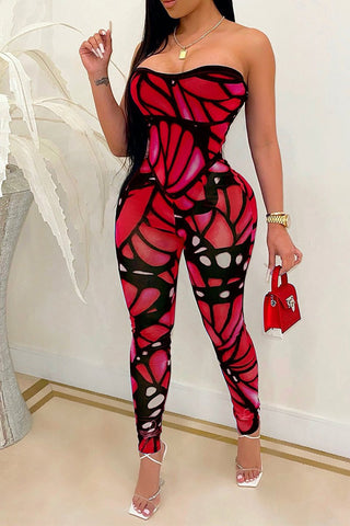 Butterfly Print Strapless Open Back Jumpsuit, whatwears  - buy with discount