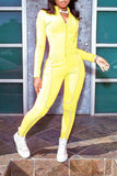 Decorative Edge Zipper Up Solid Color Jumpsuit