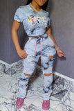 Tie Dye Cartoon Print Drawstring Top & Pants