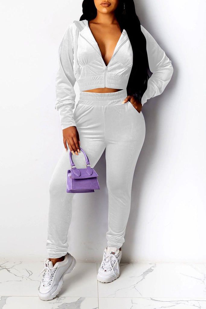 Hooded High Waist Pocket Two Piece Sets