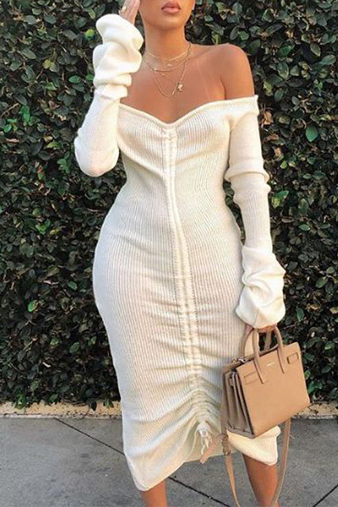 Bandage Off The Shoulder Casual Long Sleeve Dress - WHATWEARS