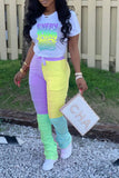 Gradient Letter Color Block Two Piece Sets