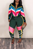Plus Size Geometry Print Zipper Long Sleeve Two Piece Outfits
