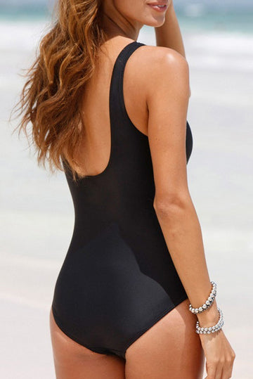 Strapped Solid Color One Piece Swimwear